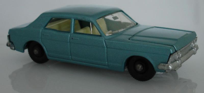 Matchbox lesney 53c1 ford zodiac mk iv metalic silver blue body black plastic wheels issued 1968