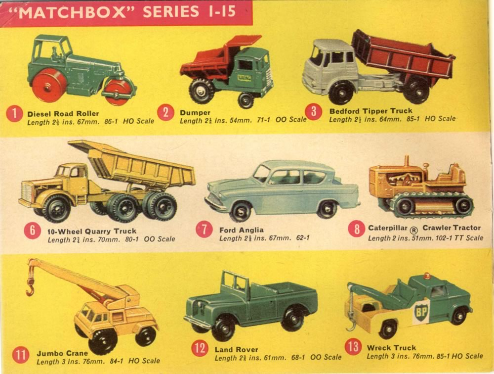 Matchbox Lesney 1965 catalog regular wheels 1-75 series numbers 1-15