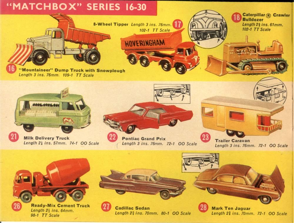 Matchbox Lesney 1965 catalog regular wheels 1-75 series numbers 16-30