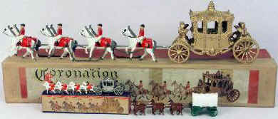 large and small coronation coaches and boxed